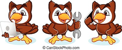Owl Mascot Vector with phone