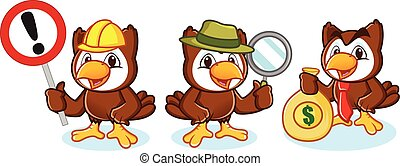 Owl Mascot Vector with money, sign, and magnifying glass