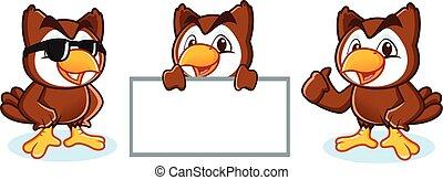 Owl Mascot Vector happy, pose and bring board