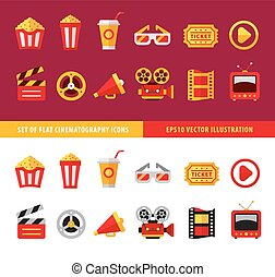 Set of flat cinema icons for online movie theater vector...