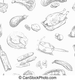 foodstuffs. seamless background - hand drawn sketches of...