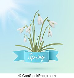 Spring background template with snowdrop flowers.