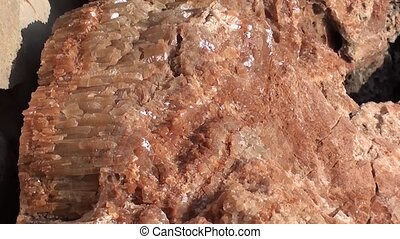 Crystals of Calcite on rocks zoom out