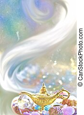 Make a wish - concept of the magical genie lamp