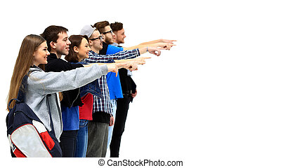 group of young people pointing