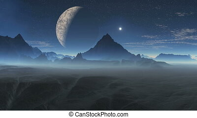 Alien planet and the moon - The huge planet moon in the...