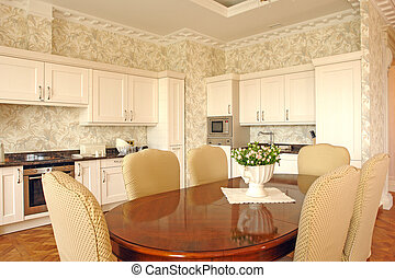 dinning room - interior of a dinning room and a kitchen...