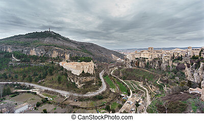 View of Cuenca and the Parador de Turismo, Spain - Wide view...