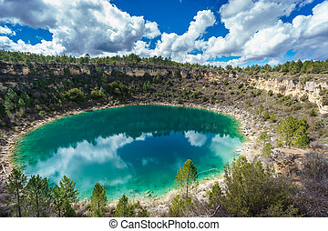 Round lake in palancares, Cuenca - Wide angle of round lake...