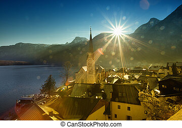 Alpine landscape of Hallstatt village - Beautiful mountain...