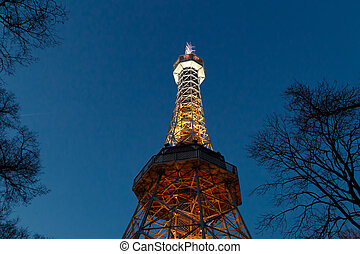 Petrin Tower View - Bottom view of historical iron Petrin...