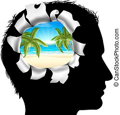 Thinking of a Tropical Vacation - A mans head in silhouette...
