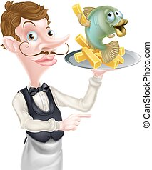 Cartoon Fish and Chips Waiter Butler Pointing - An...