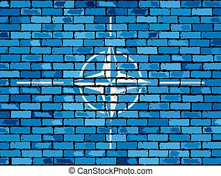Flag of NATO on a brick wall - Illustration, NATO flag on...