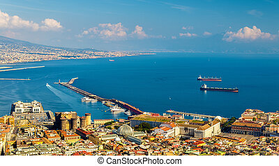 The Gulf of Naples seen from Castel SantElmo - View of the...