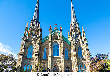 Windows in Beautiful Gothic Church - Old Stone Church in...