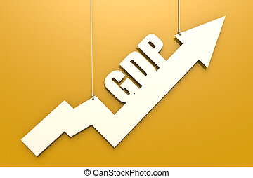 White arrow with GDP word hang on yellow background