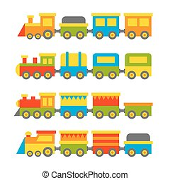 Simple Style Color Toy Trains and Wagons Set. Vector...