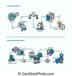 Analysis, Online Shopping Icons Business Concept...