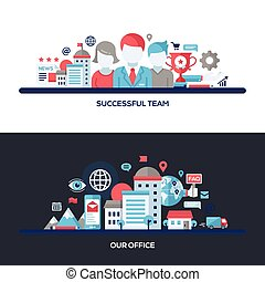Successful Team, Our Office Flat Design Concept Banners,...