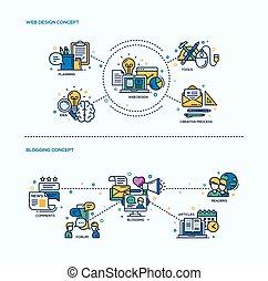 Web Design, Blogging Icons Concept Compositions Set - Web...