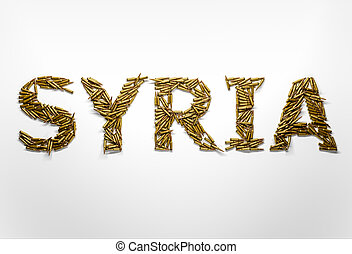 Concept of Syrian war crisis Word Syria typed with font made...