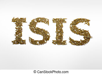 Concept of military aggression of ISIS. Word ISIS typed with...
