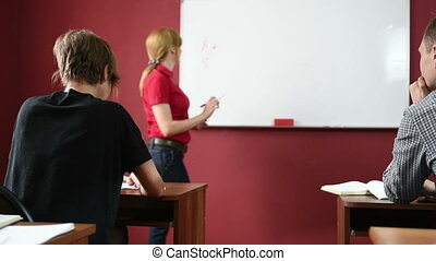 female teacher giving a lecture at the University transmits...