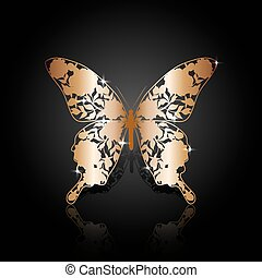 Copper abstract butterfly on black background