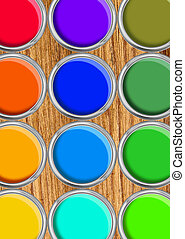 Paint cans color palette, cans opened top view on wooden table