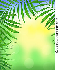 Green leaves of fern over blurred nature background