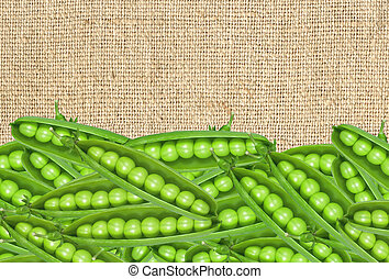 fresh green peas on burlap cloth background