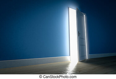 Light shining through open door in dark room with blue walls and wooden floor