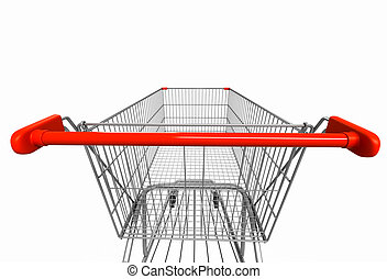 Wide angle image of shopping cart rear view on white...
