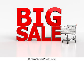 Big sale 3d word and realistic shopping cart on white...