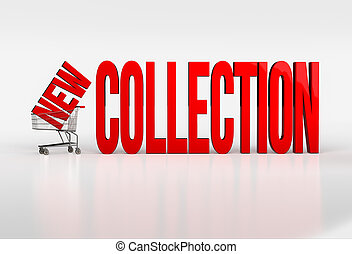 Big red new collection text in shopping cart on white background