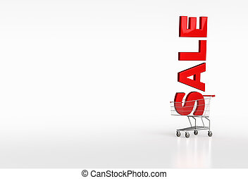 Big red word sale in shopping cart on white background Place...