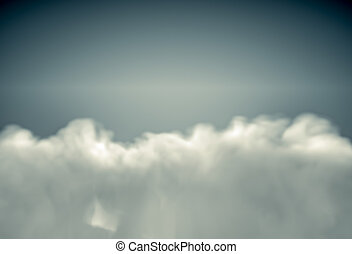 View from top on fluffy clouds lit by sun. Realistic 3d...