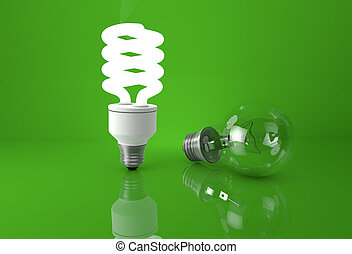 Concept of advantage of new technologies. Glowing energy saving bulb next to incandescent bulb