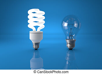 Concept of technology evolution. Energy saving bulb comparing to old incandescent bulb.