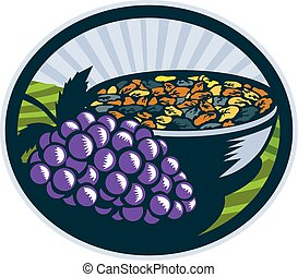Grapes Raisins Bowl Oval Woodcut