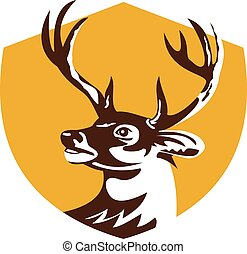 Whitetail Deer Buck Head Crest Retro - Illustration of a...