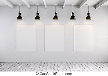 3d bright interior setup with ceiling lamp and blank frame...