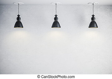 3d bright interior setup with ceiling lamp and white wall