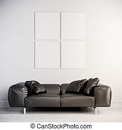 3d interior render with leather couch and blank frame on...