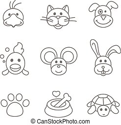 Pets related icon set in thin line style - Pets related icon...