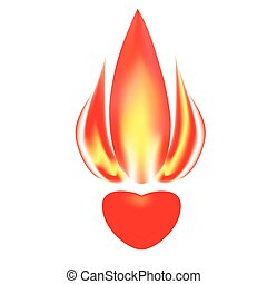 The stylized image of a burning heart  on white