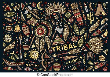Tribal native set of symbols - Tribal abstract native ethnic...