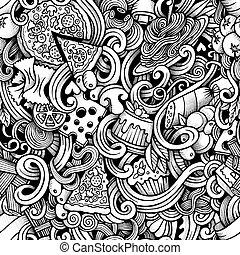 cartone animato, mano, disegnato, italiano, cibo, doodles,...