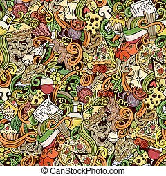 cucina, modello, seamless, doodles, cartone animato,...